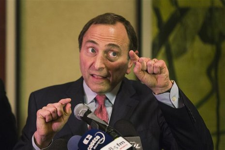National Hockey League (NHL) Commissioner Gary Bettman gestures as he describes negotiations between the NHL and the NHL Players Association