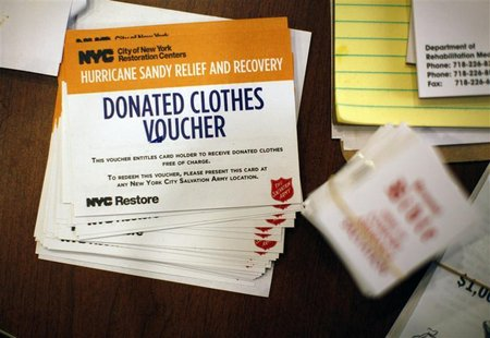 New York City donations vouchers sit on a table at the Oasis Christian Center in the Midland Beach area of Staten Island, New York, November