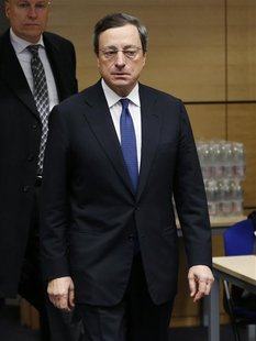 European Central Bank (ECB) President Mario Draghi arrives at an European Union finance ministers meeting in Brussels December 12, 2012. Ger