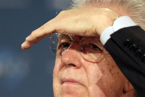 Italy's Prime Minister Mario Monti gestures at the World Policy Conference in Cannes December 8, 2012. The World Policy Conference is devote