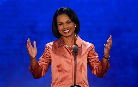 Former Secretary of State Condoleezza Rice reacts as she arrives to address delegates during the third session of the Republican National Co