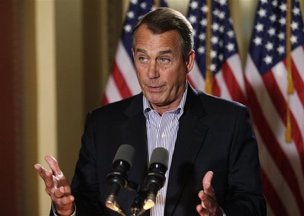 U.S. House Speaker John Boehner (R-OH) speaks to the media outside his office on Capitol Hill in Washington, December 7, 2012. REUTERS/Yuri