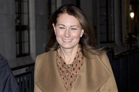 Carole Middleton leaves the King Edward VII hospital where her daughter Catherine, Duchess of Cambridge is being treated in London, December