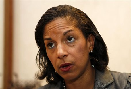 United States Ambassador to the United Nations Susan Rice is interviewed in Boca Raton, Florida, in this May 10, 2012 file photo. Rice says