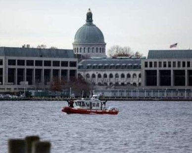 A U.S. Coast Guard boat patrols outside the U.S. Naval Academy in Annapolis, Maryland REUTERS/Molly Riley