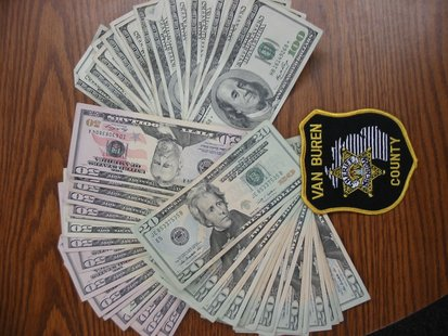 Cash seized by Van Buren County Sheriff's deputies.