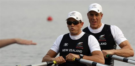Rob Waddell and Nathan Cohen (L) of New Zealand prepare to start in the men's double scull heat 1 rowing competition during the Beijing 2008