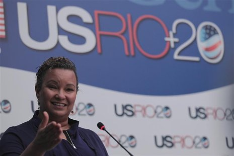 Environmental Protection Agency Administrator Lisa Jackson, speaks during a news conference in Rio de Janeiro June 20, 2012. REUTERS/Ueslei