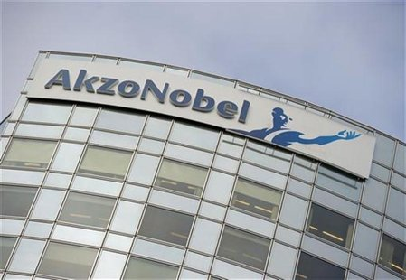 AkzoNobel's logo is seen, ahead of a presentation of the paint maker's 2011 fourth quarter and annual results, in Amsterdam in this file pho