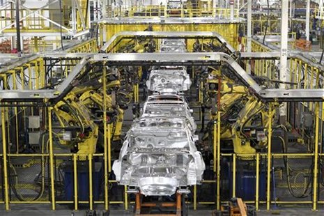 Chevrolet Cruze chassis move along the assembly line at the General Motors Cruze assembly plant in Lordstown, Ohio July 22, 2011. REUTERS/Aa