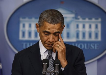 U.S. President Barack Obama speaks about the shooting at Sandy Hook Elementary School in Newtown, Connecticut, during a press briefing at th