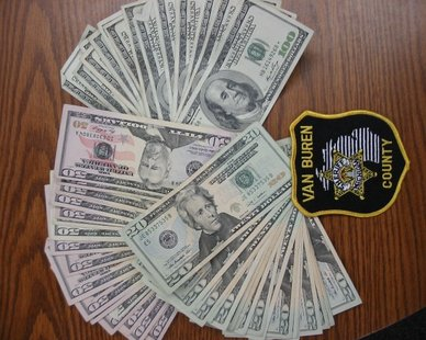 Money seized in Dec. 13, 2012 bust on I-94 near Paw Paw (photo courtesy Van Buren County Sheriff's Department)