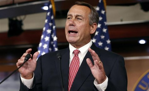 Speaker of the U.S. House of Representatives John Boehner speaks to reporters in the Capitol in Washington December 13, 2012. REUTERS/Kevin