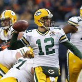 Green Bay Packers' Aaron Rodgers prepares to throw a pass against the Chicago Bears in their NFL football game at Soldier Field in Chicago,