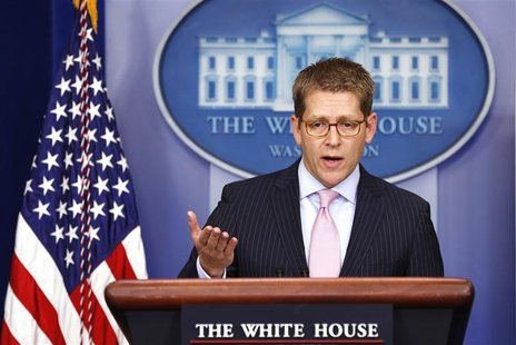 White House Press Secretary Jay Carney answers questions from reporters during a media briefing at the White House in Washington December 17