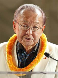 U.S. Senator for Hawaii Daniel Inouye speaks at a reception hosted by the U.S.-Japan Council and APEC Host Committee in Honolulu, Hawaii in