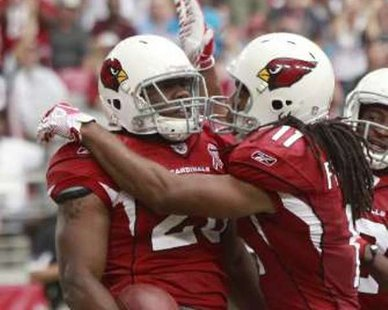 Arizona Cardinals running back Beanie Wells (L) celebrates with teammate Larry Fitzgerald after scoring a touchdown during a NFL game in Glendale, Arizona. REUTERS/Rick Scuteri