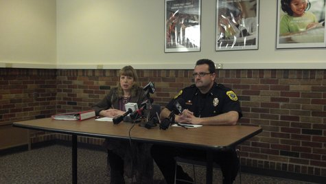 Green Bay Area Public School District Executive Director of Pupil Services Barbara Dorff (left) and Green Bay Police Lt. Todd LePine hold a press conference on school security Monday December 17, 2012.