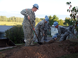 Wisconsin Army National Guard members working on trail project in Chequamegon-Nicolet National Forest near Ashland, Wis.