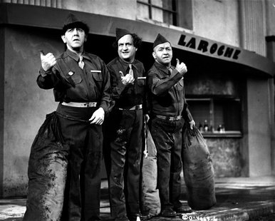 Actors Moe Howard (L), Larry Fine and Curly Howard, members of the comedy team The Three Stooges, are shown in this 1946 publicity photo fro