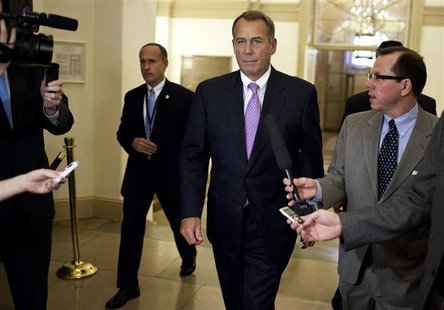 U.S. Speaker of the House of Representatives John Boehner (R-OH) walks to his office in the U.S. Capitol after meeting with U.S. President B