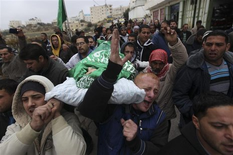 Palestinians carry the body of teenager Mohamad Salaymeh during his funeral in the West Bank city of Hebron in this December 13, 2012 file p
