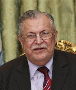 Iraq's President Jalal Talabani speaks to the media during a news conference in Baghdad in this November 23, 2010 file photo. REUTERS/Thaier