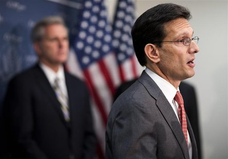 House Majority Leader Rep. Eric Cantor (R-VA) speaks at a news conference after a Republican caucus meeting on Capitol Hill in Washington on