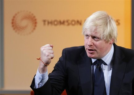 London's Mayor Boris Johnson speaks during a Thomson Reuters Newsmaker event at Canary Wharf, east London December 4, 2012. REUTERS/Andrew W