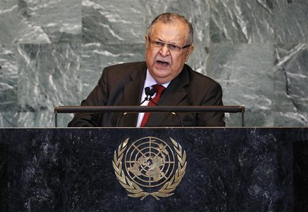Iraq's President Jalal Talabani addresses the 66th session of the United Nations General Assembly at the U.N. headquarters in New York Septe