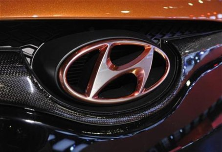 Detail view of the Hyundai logo on their Veloster model shown during the final press preview day for the North American International Auto S