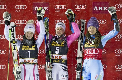 Winner Germany's Viktoria Rebensburg, Austria's Anna Fenninger (L), who placed second, and Slovenia's Tina Maze (R), who placed third, pose