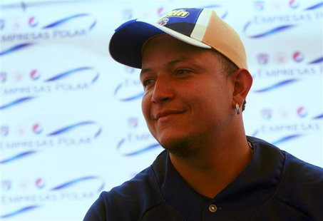 Venezuelan baseball player Miguel Cabrera of the Major League Baseball's Detroit Tigers attends an event to donate sports equipment to young