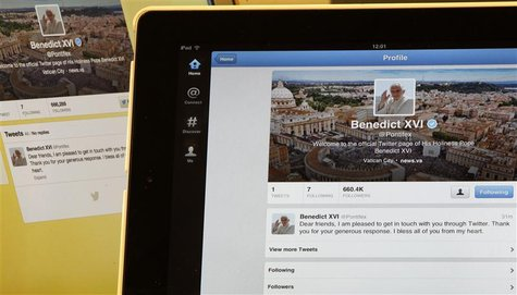 Pope Benedict XVI's twitter account is pictured with his first tweet on an iPad tablet in this photo illustration taken in Milan December 12