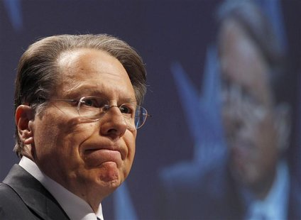 CEO of the National Rifle Association Wayne LaPierre reacts during the 38th annual Conservative Political Action Conference (CPAC) meeting a