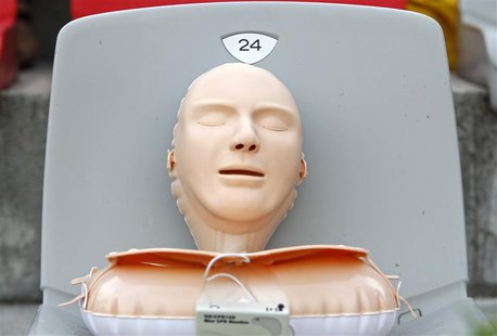 A plastic CPR training mannequin is seen as Romanian volunteers learn how to save lives by practicing CPR on 700 plastic models, in an attem