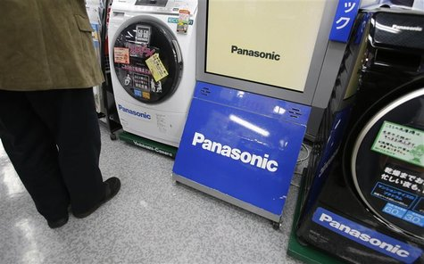 Panasonic Corp logos are seen at an electronics store in Tokyo November 15, 2012. REUTERS/Toru Hanai