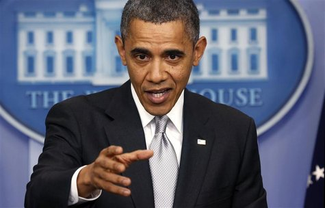 U.S. President Barack Obama speaks about the fiscal cliff to members of the media in the White House Briefing Room December 19, 2012. REUTER