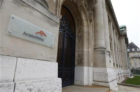 The logo of ArcelorMittal company is seen at the entrance of its headquarters in Luxembourg in this picture taken on November 20, 2012. REUT