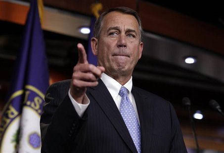 "U.S. House Speaker John Boehner (R-OH) speaks to the media on a ""fiscal cliff"" on Capitol Hill in Washington, December 20, 2012. REUTERS/Yur"