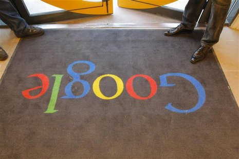 A Google carpet is seen at the entrance of the new headquarters of Google France before its official inauguration in Paris December 6, 2011.