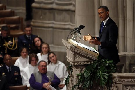 U.S. President Barack Obama speaks during the funeral service for Hawaii Senator Daniel Inouye at the National Cathedral in Washington Decem