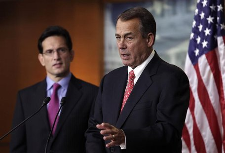 "U.S. House Speaker John Boehner (R-OH) (R) and House Majority Leader Eric Cantor (R-VA) speak to the media on the ""fiscal cliff"" on Capitol"