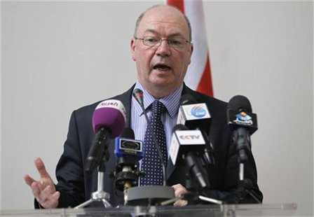 Alistair Burt, British Minister for the Middle East and South Asia, speaks during a news conference in Algiers June 24, 2012. REUTERS/Louafi