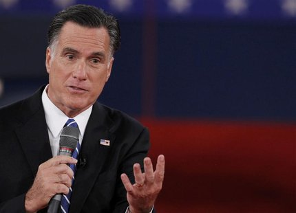 Republican presidential nominee Mitt Romney answers a question during the second U.S. presidential debate in Hempstead, New York, October 16