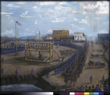 "A painting titled ""Execution of Dakota Indians, Mankato, Minnesota"" is pictured in this handout photo from the Minnesota Historical Society."