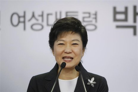 South Korea's conservative President-elect Park Geun-hye speaks during a news conference at the main office of ruling Saenuri Party in Seoul