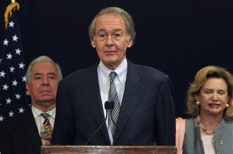 Representative Edward J. Markey speaks (C) during a visit by him and his colleagues discussing bilateral relationships between Egypt and the