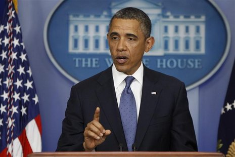 U.S. President Barack Obama makes a statement to reporters after meeting with congressional leaders at the White House in Washington Decembe