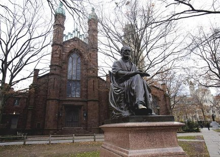 The Theodore Dwight Woolsey statue in front of Dwight Hall on the Old Campus at Yale University in New Haven, Connecticut, in this November